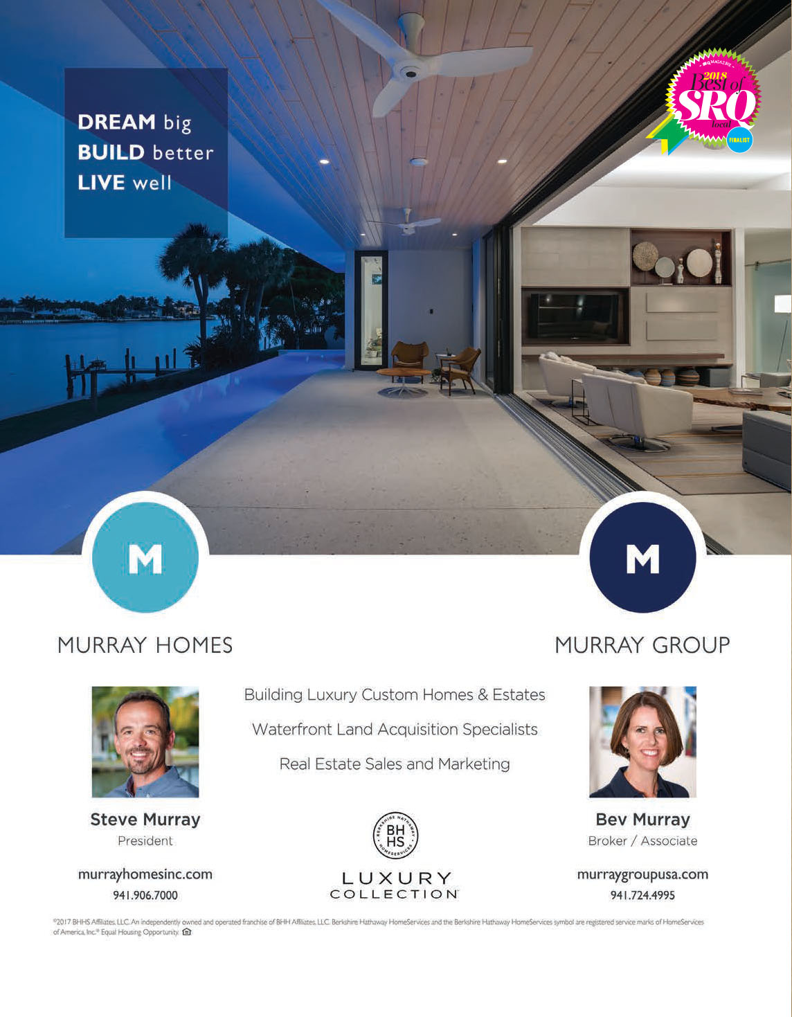 Murray Homes Gains Recognition As A 2018 SRQ Best Of Local Finalist