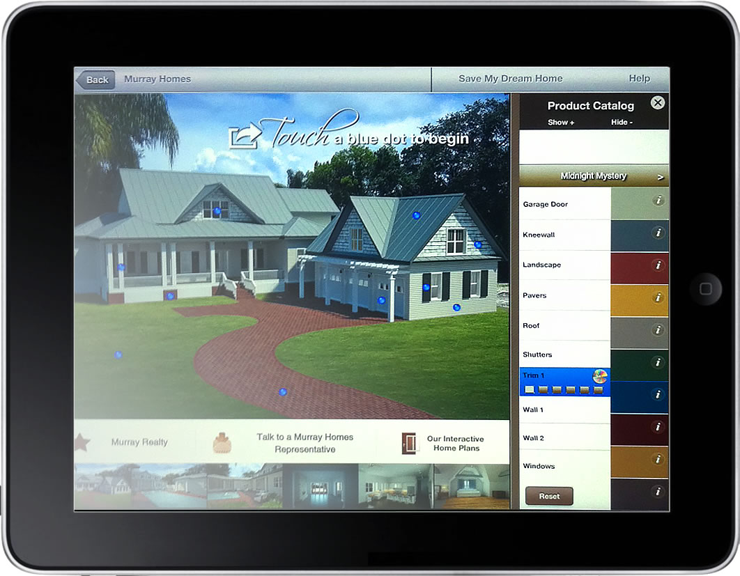 Custom home design app murray homes virtual builder allows for design choices to be visulaized in a new app malvernweather Choice Image